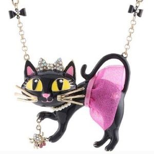 Betsey Johnson Black Cat Pendant Necklace NWT